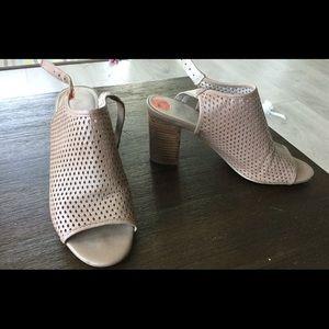 Beige Franco Sarto Peep Toe Heeled Sandals